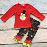 Christmas fall/winter baby girls kids wear red snowman outfits cotton  top snowflake print party gift cute ruffles pants
