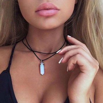 Natural opal quartz crystal pendant choker necklace black leather hexagon pendant chrysocolla choker necklace jewelry +gift box