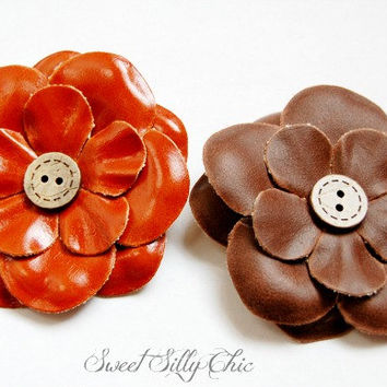 Pair of Faux Leather Flower Hair Clips, Orange and Brown Leather Look Hair Clips, Baby, Girls, Womens Hair Accessory