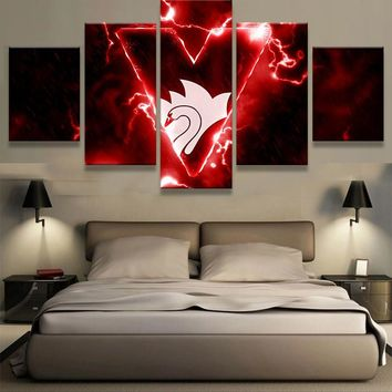 5 Pieces Sydney Swans Sports Team Fans Oil Painting On Canvas Modern Home Pictures Prints Liveing Room Deco Fans Posters Bedroom