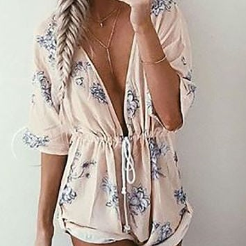 Streetstyle  Casual Fashion Street Deep V Plunge Floral Print Romper
