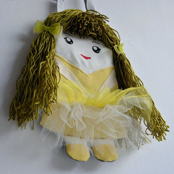 Bag ballerina, Handbag doll for the little lady, Green bag doll, tutu skirt