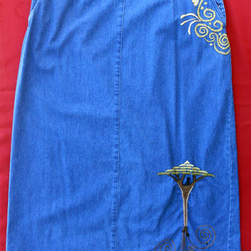 Tree Of Life Women's Blue Jean Skirt Upcycled Wearable Art Hand Stitched Embroidered Size 16 Talbots