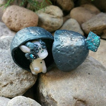 Baby dragon hatchling polymer clay figure//fantasy//miniature//gifts for her