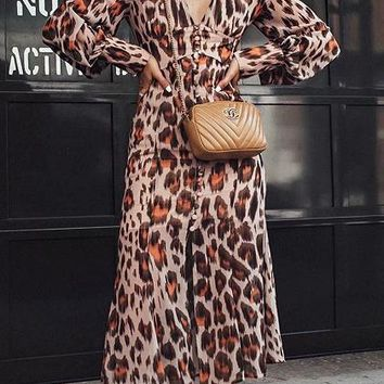 Brown Chiffon V-neck Leopard Print Long Sleeve Chic Women Midi Dress