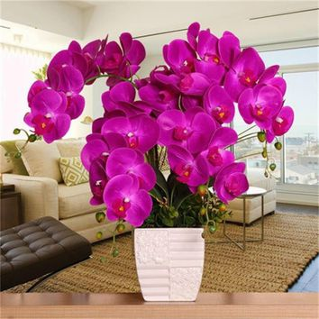 Charm Orchid Artificial Flowers DIY Artificial Butterfly Orchid Silk Flower Bouquet Phalaenopsis Wedding Home Decoration