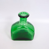 Vintage Green Glass Bottle Emerald Green Jar Apothecary Blown Glass Bubbles Flower Vase Cased Base