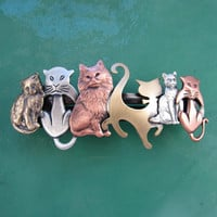 CAT CRAZY FRENCH Barrette 80mm Silver Ox-Copper Ox-Brass Ox Combo