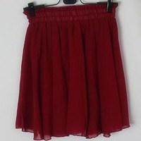 Sexy Women Chiffon Pleated Double Layer High Waist Short Wine red Skirts Dress