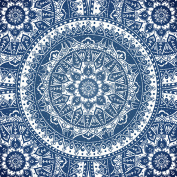 Blue Mandala Pattern Art Print by Laurel Mae