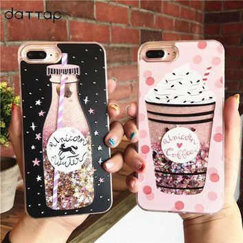 daTTap bottle quicksand case for iphone 8 case glitter silicone TPU+ PC Dynamic liquid cover Case for iphone 8 plus 8plus fundas