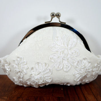 White silk clutch with lace overlay, ribbon flowers, sequins, framed wedding clutch, bridal bag, personalized initials