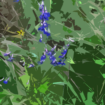 Blue Wildflowers Acrylic Popart Painting Free Shipping in the US