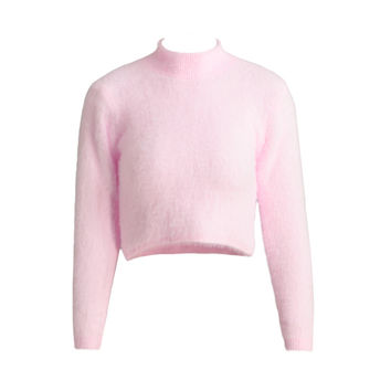 Turtle Neck Long Sleeve Mohair Knitted Fluffy Crop Sweater in Pink