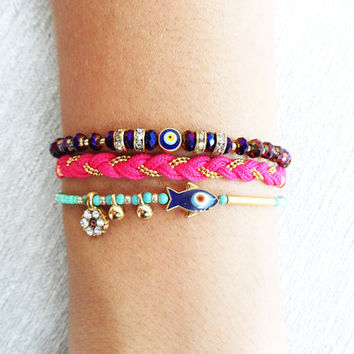 Evil eye bracelet purple pink turquoise fish ethnic ottoman arabic islamic turkish bracelet jewelry best friend birthday women istanbul