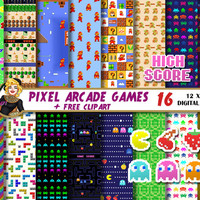 Pixel Arcade Games digital paper, pacman clipart, tetris,zelda,super mario, space invaders, Scrapbooking paper, backgrounds, pixel patterns