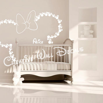 Wall Decal Vinyl Sticker Decals Art Decor Design Disney Custom Baby Name Head Mice Ears Bow Minnie Mouse Gift Kid Children Nursery(r1281)