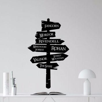 Road Sign Vinyl Sticker Lord Of The RIngs Wall Decal Removable Vinyl Mural Road Sign Wallpaper Home Decor Wall Sticker AY0193