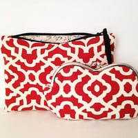 Red and Ivory sunglass case and zipper bag set, small clutch, makeup case
