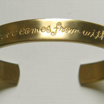 Raw Brass Peace Etched Sentiments Cuff Bracelet - 1 pc.