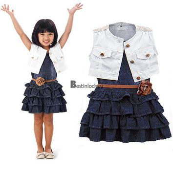 Fashion Baby Girl Kids Outfit Clothes Coat + Dress 2 Piece Set with Belt BSTY01