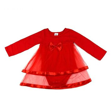 Newborn Baby dress Baby girl clothes With Bow knot Long sleeve Net Baby girl dress