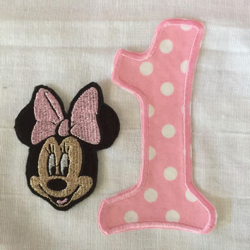Mouse patch and Number Applique or Patch only DIY toddler Birthday Oufit Infant Birthday Outfit Mickey Inspired No Sew