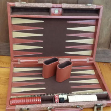 Vintage Aries of Beverly Hills Backgammon Set Tweed Case Great Vintage Game