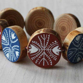 wooden jewellery - wood bracelet from tree branch - Hand painted ornaments - Red White Blue colors - wooden accessories