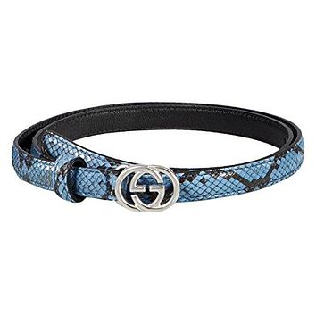 Gucci Women's Light Blue Python Interlocking GG Buckle Skinny Belt