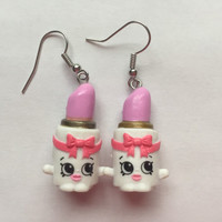 Shopkins Foodie Earrings - Ballet Lipstick - repurposed toys