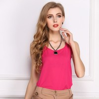 Women 's Candy Colors Chiffon Shirt Trousers Bottom Shirt Sleeveless Chiffon 11 colors