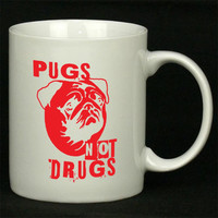Pugs Not Drugs Red For Ceramic Mugs Coffee *