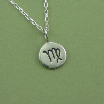 Zodiac Necklace, sterling silver astrological sign necklace, Aries,Taurus,Gemini,Cancer,Leo,Virgo,Libra,Scorpio,Sagittarius,Capricorn,Aquari
