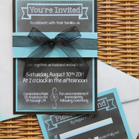 Chalkboard Wedding Invitation | Handmade | Blue and Black | Invite | RSVP | Envelopes | Ribbon | Belly Band | SAMPLE SET