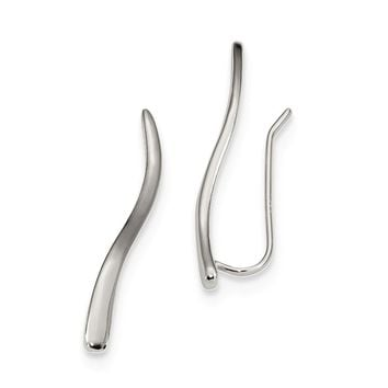 Sterling Silver Rhodium-plated Ear Climber Earrings