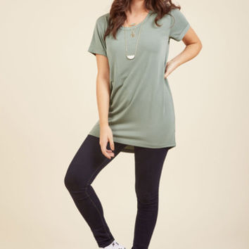 Simplicity on a Saturday Tunic in Sage | Mod Retro Vintage Short Sleeve Shirts | ModCloth.com