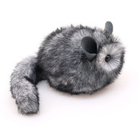 Fluffy Light Grey Chinchilla Stuffed Animal Plush Toy -  5x8 Inches Medium Size