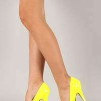 Cheetah-01 Neon Almond Toe Platform Pump