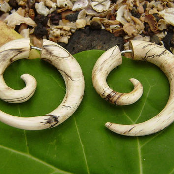 Fake Gauges,tribal style,hand carved,wood Earrings ,Tribal Expander Split,organic ,small