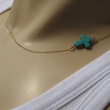 "Turquoise Sideways Cross Necklace, Side Cross Necklace, 14k Gold Fill or 925 Sterling Silver, Layering Necklace, ""Amorgos"" Necklace"