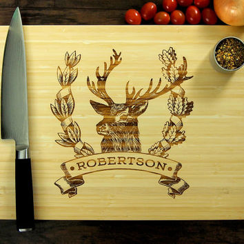 Personalized Cutting Board, Wedding Gift, Custom Engraved, Wooden Sign, Kitchen Decor, Vintage Deer Banner, Anniversary Gift, Family Name