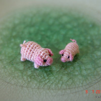 1/3 inch miniature pink pig and 1/4 inch pink piglet - Tiny amigurumi crochet animals