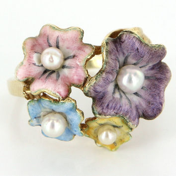 Vintage Enamel Flower Cocktail Ring 14k Yellow Gold Cultured Pearls Estate Jewelry