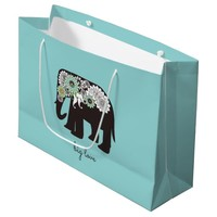 Paisley Elephant Big Love Cute Modern Turquoise Large Gift Bag