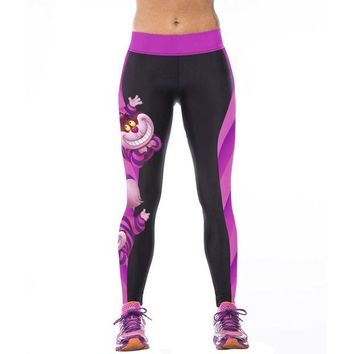ONETOW NEW Sexy Girl Women Alice in Wonderland Cheshire cat 3D Prints High Waist Workout Fitness Leggings Pants