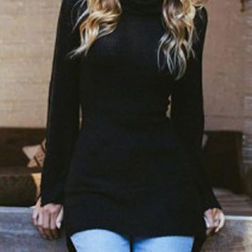 Black High-Low Slit Bell Sleeve High Neck Casual Sweater