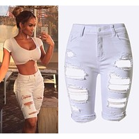 2016 Summer White Denim Destroyed Bermuda Shorts Women Ripped Hole Plus Size High Waisted Jeans Short Feminino