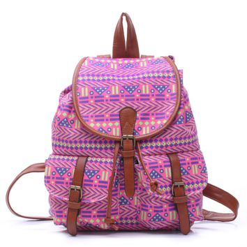 Purple Aztec College School Bag Travel Bag Canvas Lightweight Backpack