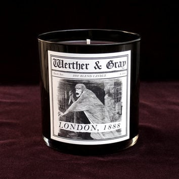 LONDON, 1888 Candle, 9oz Black Tumbler, Dark Series, Werther + Gray, Jack The Ripper, Gothic Vintage Victorian Style, Soy Blend, Scented